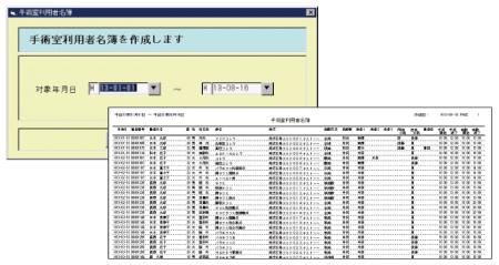 手術室利用者名簿